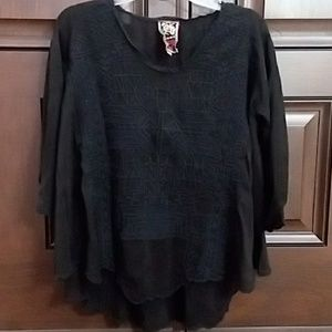 Johnny was black embroidered tunic blouse xs